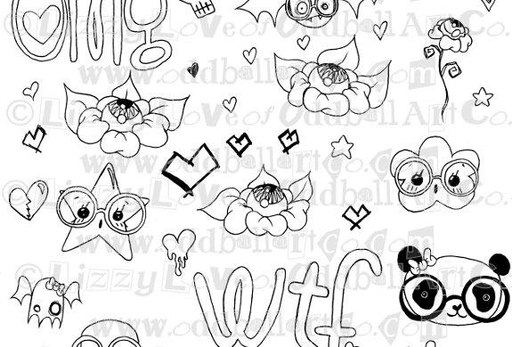 Digi Stamp Creepy Cute Doodle Collage Sheet Img# 107