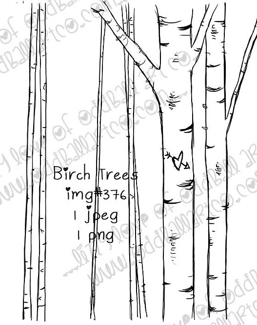 Digital Stamp Rustic Forest Birch Trees Image No.376