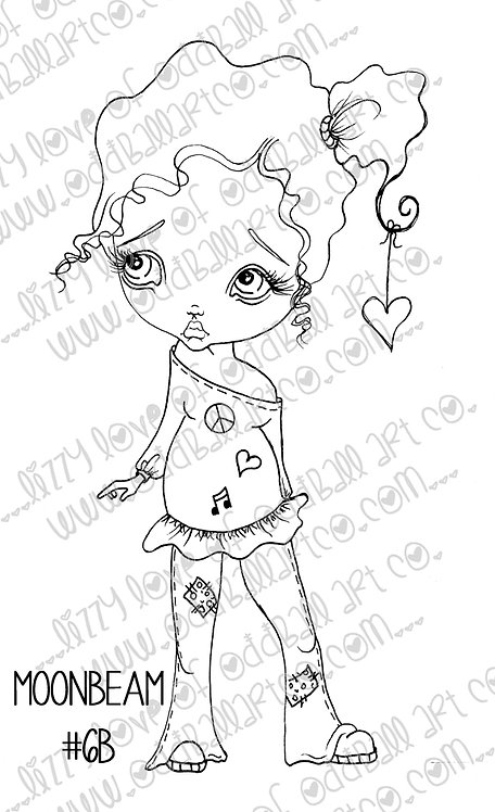 Digital Download Printable Stamp Cute Big Eye Girl Moonbeam Image No 6