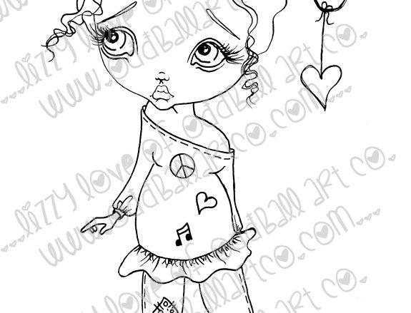 Digital Download Printable Stamp Cute Big Eye Girl Moonbeam Image No 6