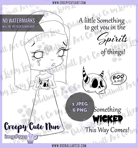 Digi Stamp Creepy Cute Nun & Skull with Horns Digital Image Set IMG 539