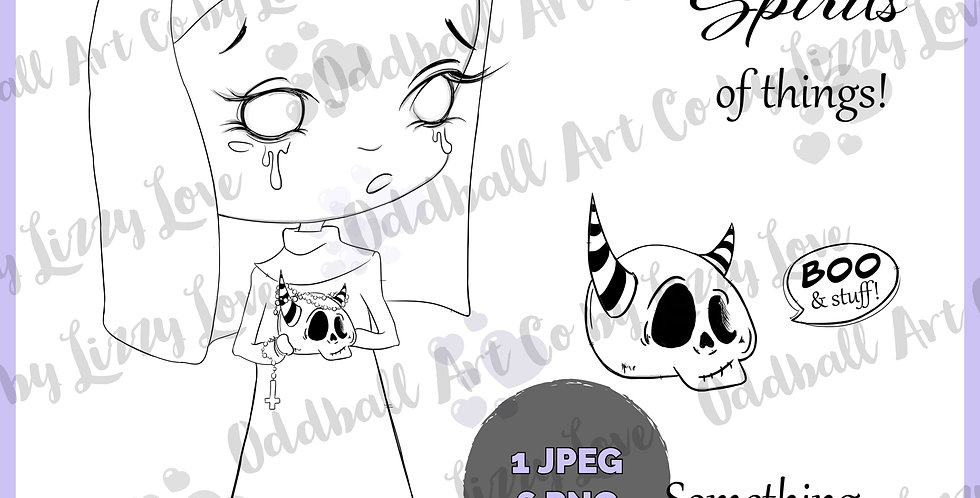 Digi Stamp Creepy Cute Nun & Skull with Horns Digital Image Set IMG 539