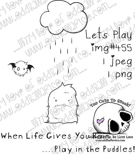 Printable Stamp Cute Little Fuzzy Lets Play Monsters Image No 455