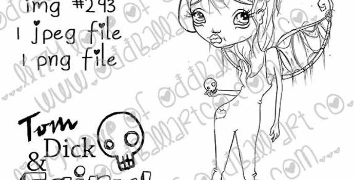 Digital Stamp  Big Eye Tom Boy Fairy Creepy Cute Hari the Fairy Image No. 293
