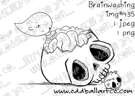 Digital Stamp Creepy Cute Ghoul & Skull Brain - Brainwashing Image No.435