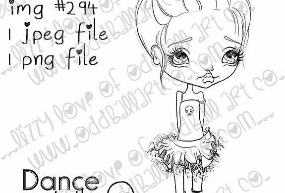 Digital Stamp Big Eye Tutu Girl Milla's Dance Image No. 294