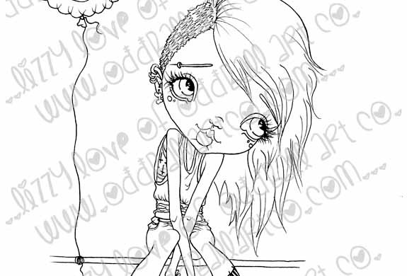 Digi Stamp Creepy Cute Big Eye Punk Girl Tanith  Img# 101