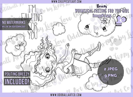 Digi Stamp Whimsical Falling for You Girl Breezy Set IMG 125
