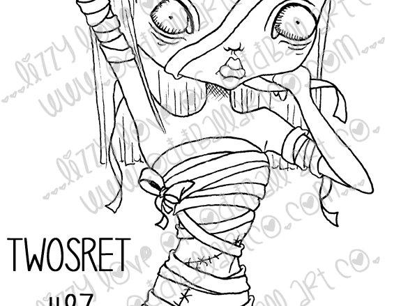 Digi Stamp Creepy Cute Egyptian Mummy Twosret Image 87