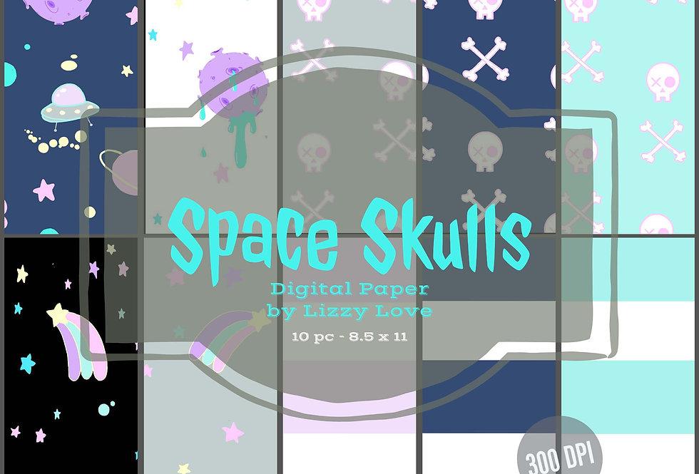 Digital Paper 10pc Space Skulls 12 x 12 300dpi by Lizzy Love