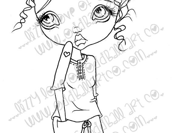Digital Printable Stamp Cute Big Eye Camping Girly Cassidy Image No. 19