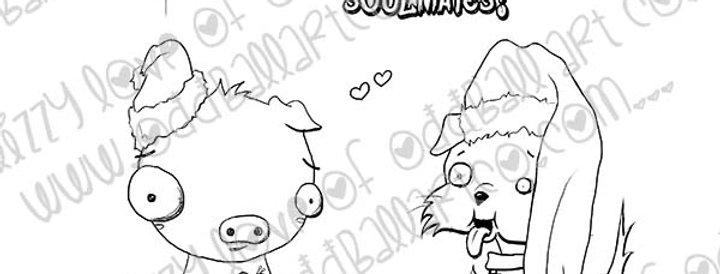 Digital Stamp Whimsical Christmas Animals ~ Soulmates Image N. 391