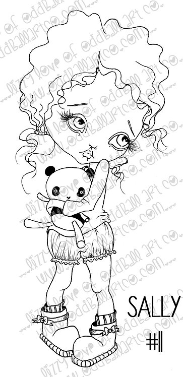 Digital Download Printable Stamp Big Eye Bedtime Pajamas Girl Sally Image No. 11