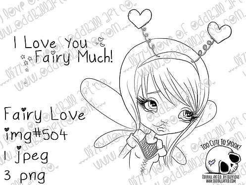 Digi Stamp Cute Fairy Girl in Heart Antennas Fairy Love with Sentiment Image 504