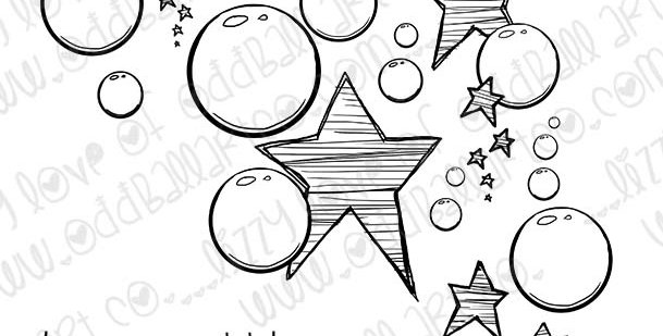 Digital Stamp Hand Drawn Stars and Bubbles Image No.343