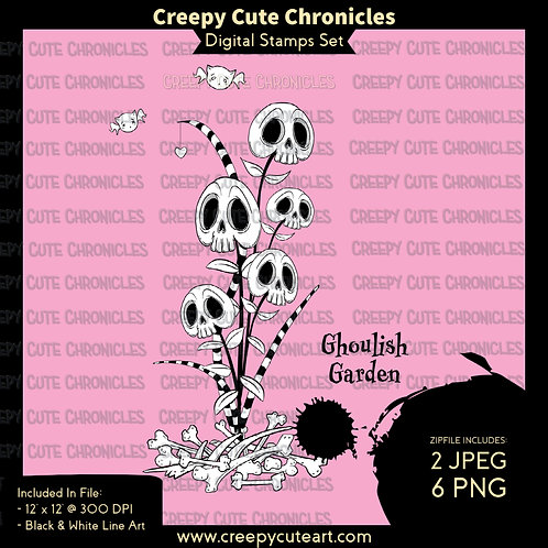 CCC# 144 GHOULISH GARDEN DIGI STAMP Creepy Cute Chronicl
