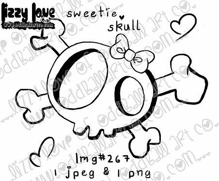 Digital Stamp Creepy Cute ONE DOLLAR STAMP Sweetie Skull Image No. 267