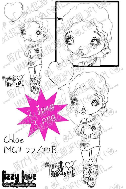 Digital Stamp Cute Big Eye Girl Chloe Image No.22