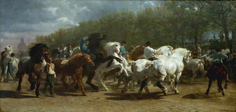 The Horse Fair. Ярмарка лошадей, 1853-1855 гг. Картина французской художницы-анималиста Розы Бонёр. Оригинал висит в Музее Метрополитен в Нью-Йорке.