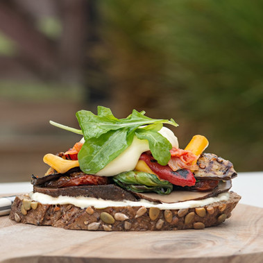 Grilled Vegetable Sandwich with Kimchee and Spiced Mango