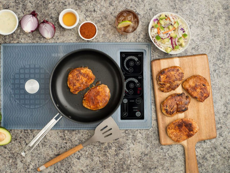 Dual induction cooktop with food.JPG