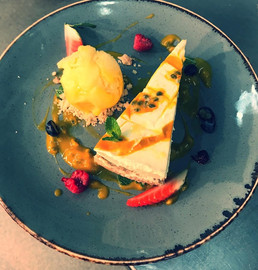 Mango & Passionfruit Cheesecake with Sorbet