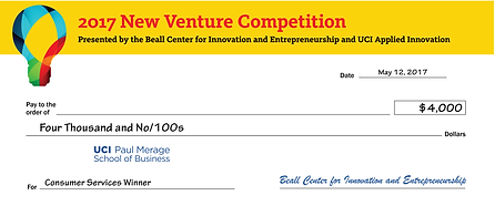 Beall Center's New Venture Competition Check
