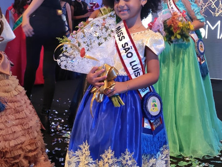 Sucesso em propaganda de escola, menina fica em 2º lugar no 'Mini Miss Maranhão'