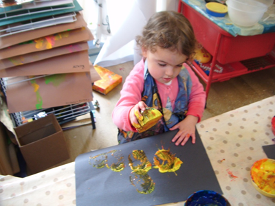 painting with fruit and veg