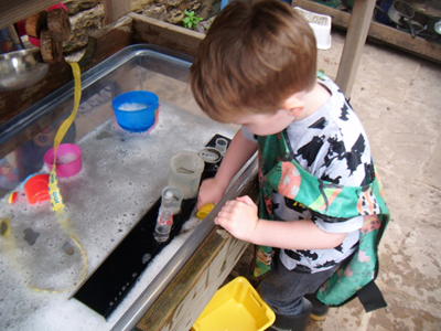 Measuring in the water tray