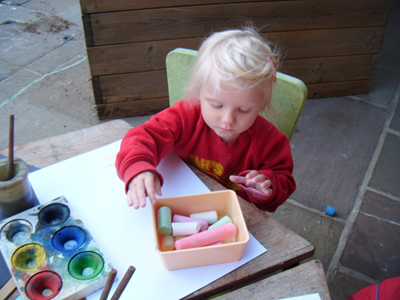 drawing with chalks