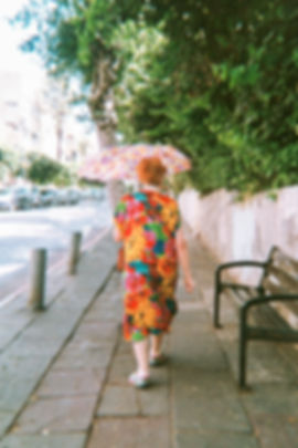 old lady with flower dress