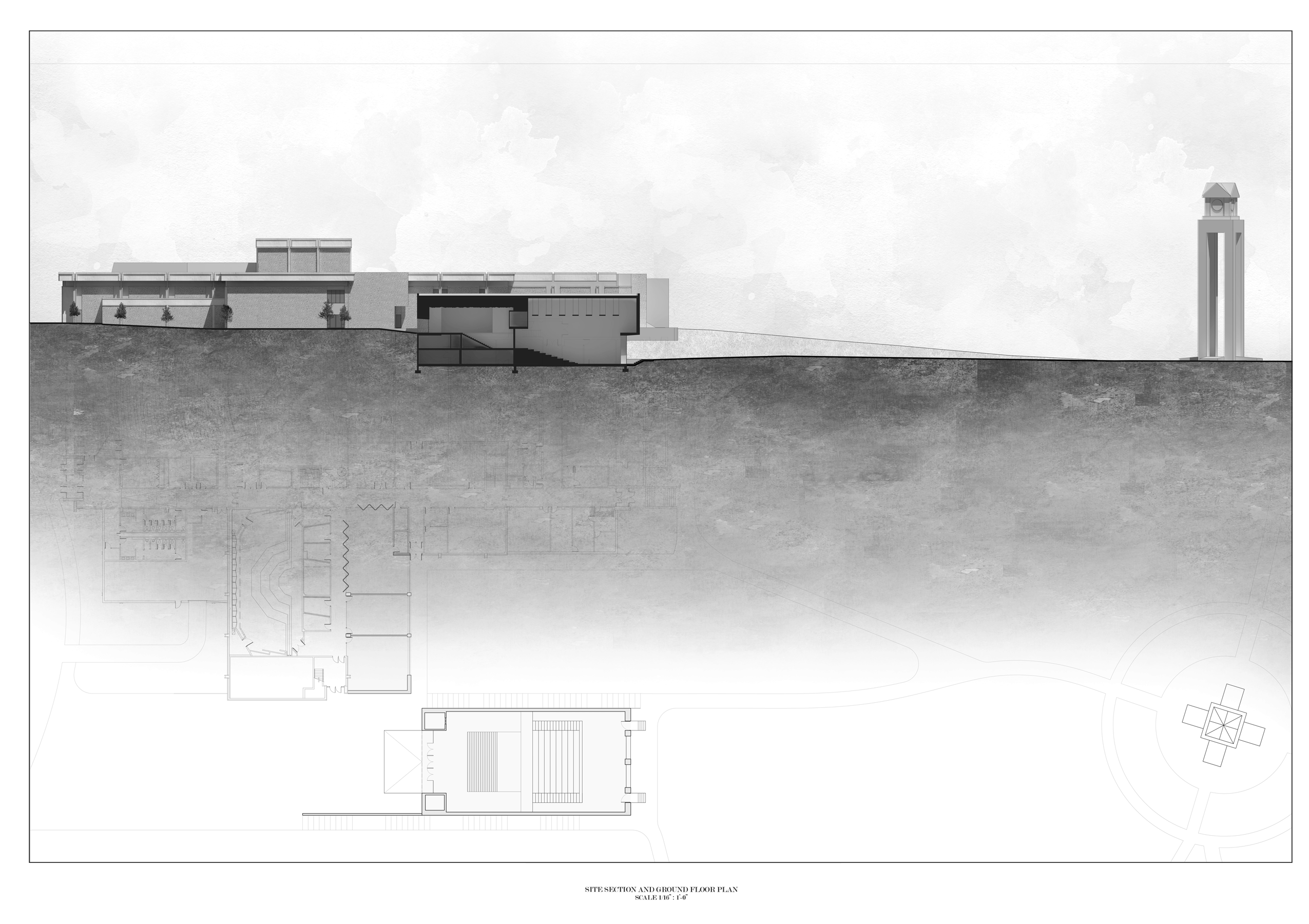 Site Section and Ground Floor Plan