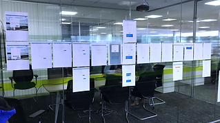 Screen printouts on a large wall