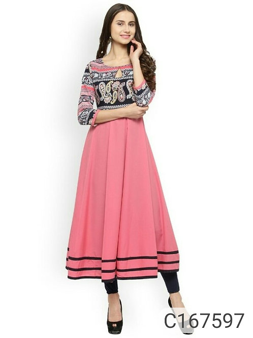 Delicate Crepe Solid with Printed 3/4th Sleeves Round Neck Festive Kurtis