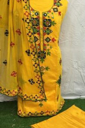 Chanderi Cotton Dress Material With Dupatta