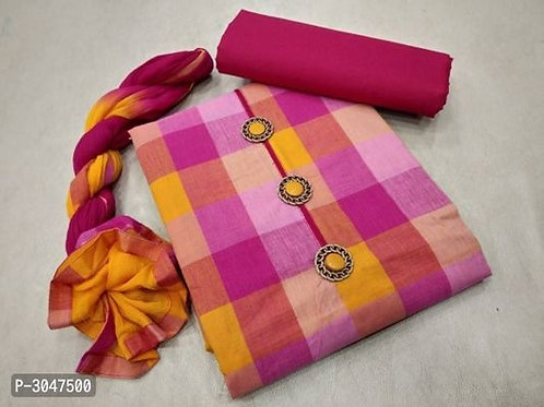 Stunning Hand Loom Cotton Women's Dress Material with Dupatta
