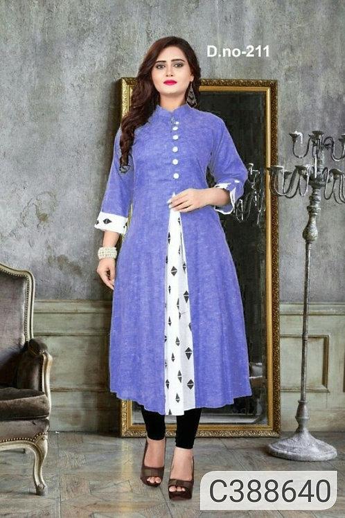 Pretty Khadi Cotton Printed 3/4th Sleeves Collar Neck Straight Kurtis