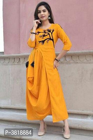 Rayon Slub Embroidered Designer Kurtas