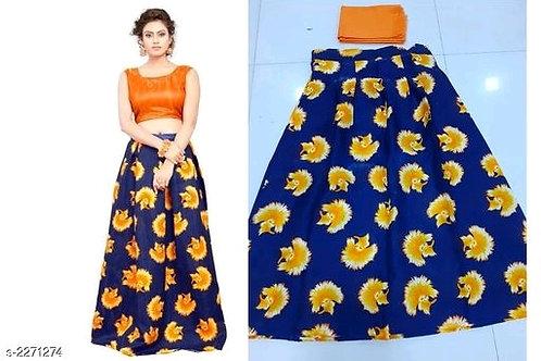 Beautiful Partywear Satin Women's Printed Lehengas Set  V 2
