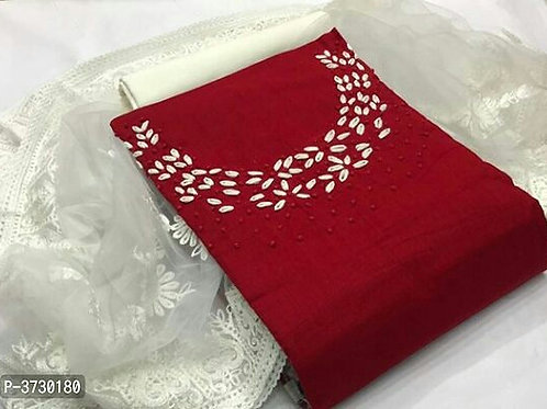 Elegant Red Cotton Handwork Women Dress Material with Dupatta