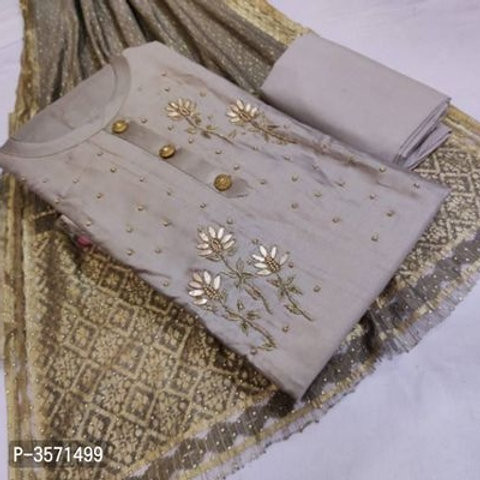 Cotton Embroidered Dress Material With Heavy Dupatta