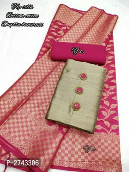 Silk Slub Dress Material With Designer Buttons And Dupatta