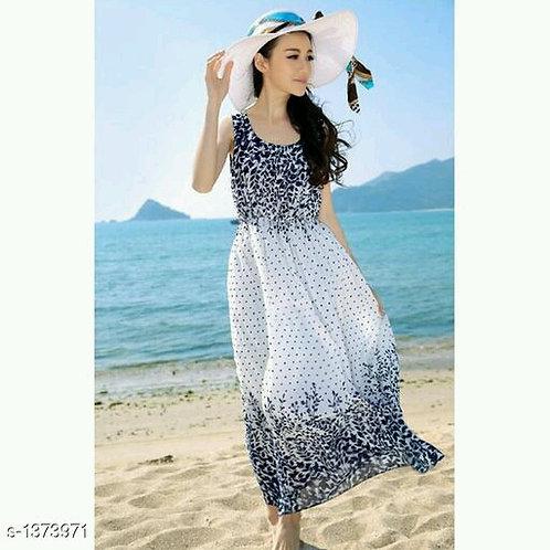 Women Printed Long Dress V 1