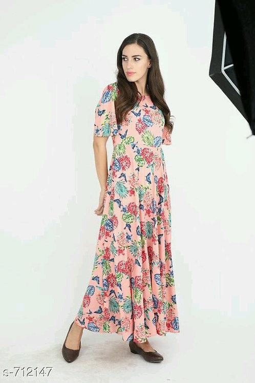 Adalyn Elegant Crepe Printed Dresses