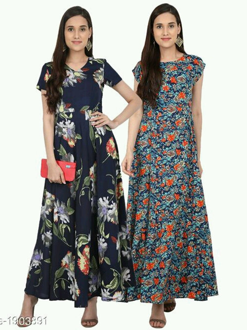 Gorgeous Pretty Printed Crepe Dresses Combo