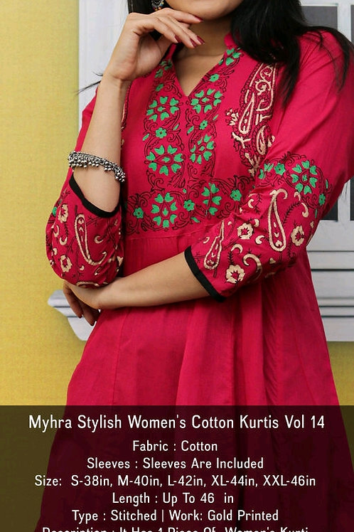 Myhra Stylish Women's Cotton Kurtis V 4