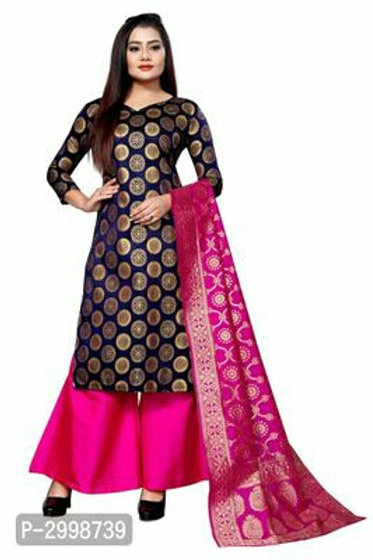 Self Pattern Brocade Dress Material with Dupatta