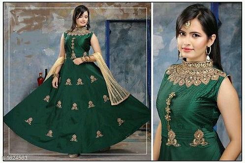 Attractive Designer Taffeta Silk Women Gowns V 2