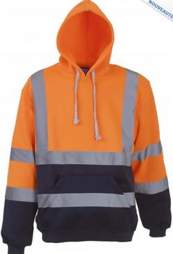Sweat-shirt à capuche haute-visibilité